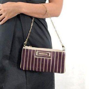 Anya Hindmarch Gold Chain-Link Burgundy Stripe Bag